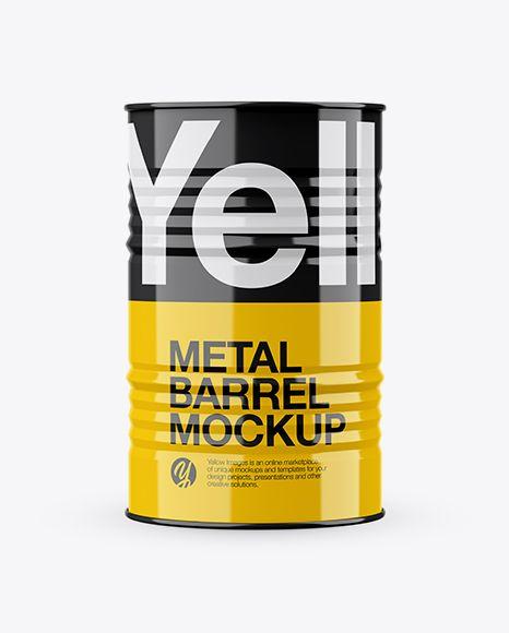 Glossy Metal Barrel Mockup In Barrel Mockups On Yellow Images Object Mockups Metal Barrel Mockup Free Psd Mockup Psd