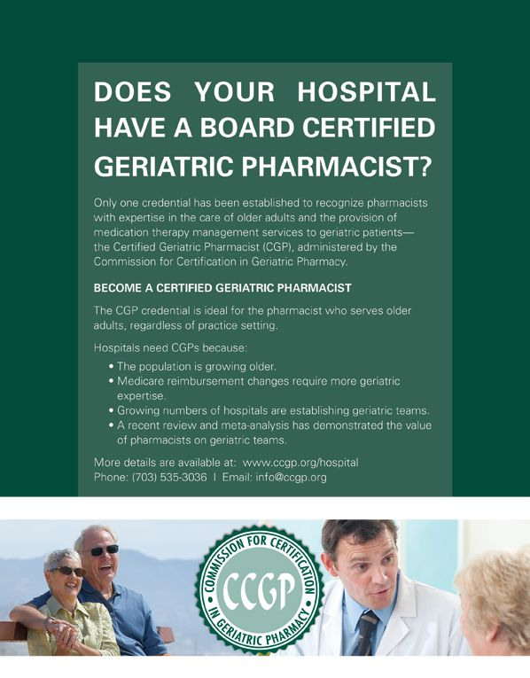 Commission For Certification In Geriatric Pharmacy Become A