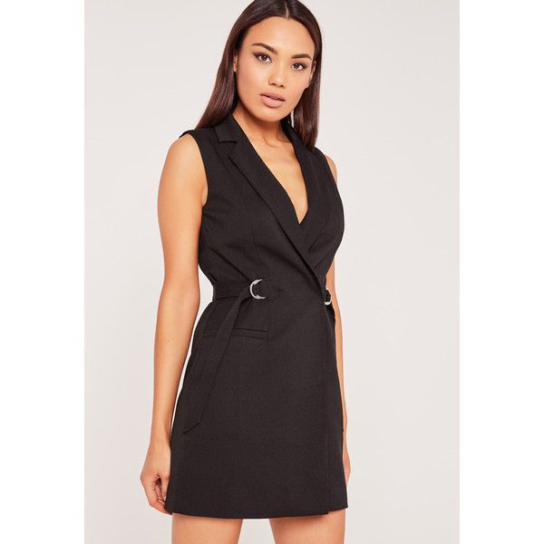 2baa677406b1a Missguided Sleeveless D-Ring Blazer Dress ($34) ❤ liked on Polyvore  featuring dresses, black, tie waist dress, sleeveless blazer dress,  missguided dress, ...