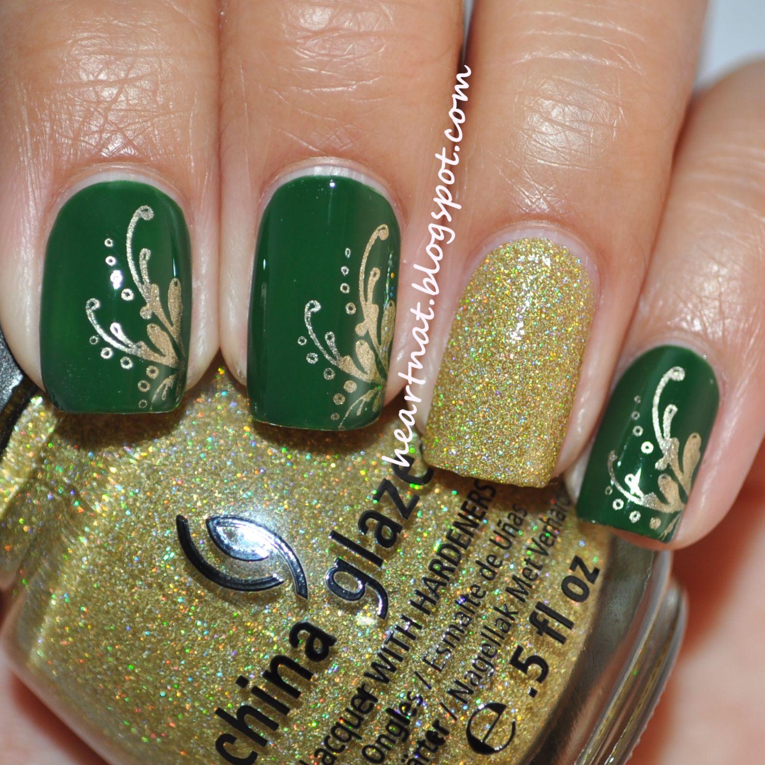 Green & gold Christmas #nail #nails #nailart | por hacer *u ...