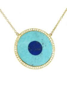 Turquoise Inlay and Lapis Center Eye Necklace with Diamonds - Yellow Gold