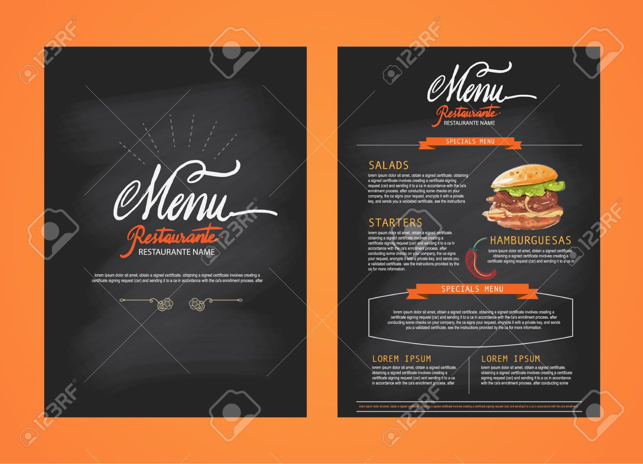 Stock Photo Modèle De Menu De Restaurant Modèles De Menu