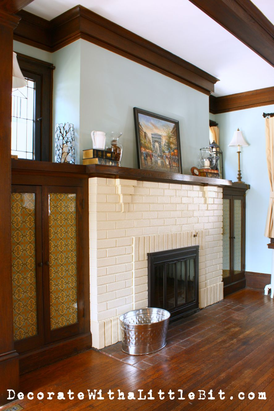 Doors Medium And Ideas: White Brick, Black Doors And Medium Dark Wood Trim