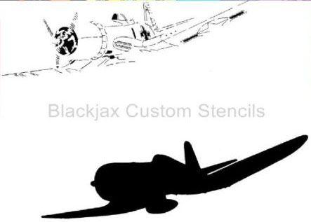 corsair fighter jet airplane wall stencil