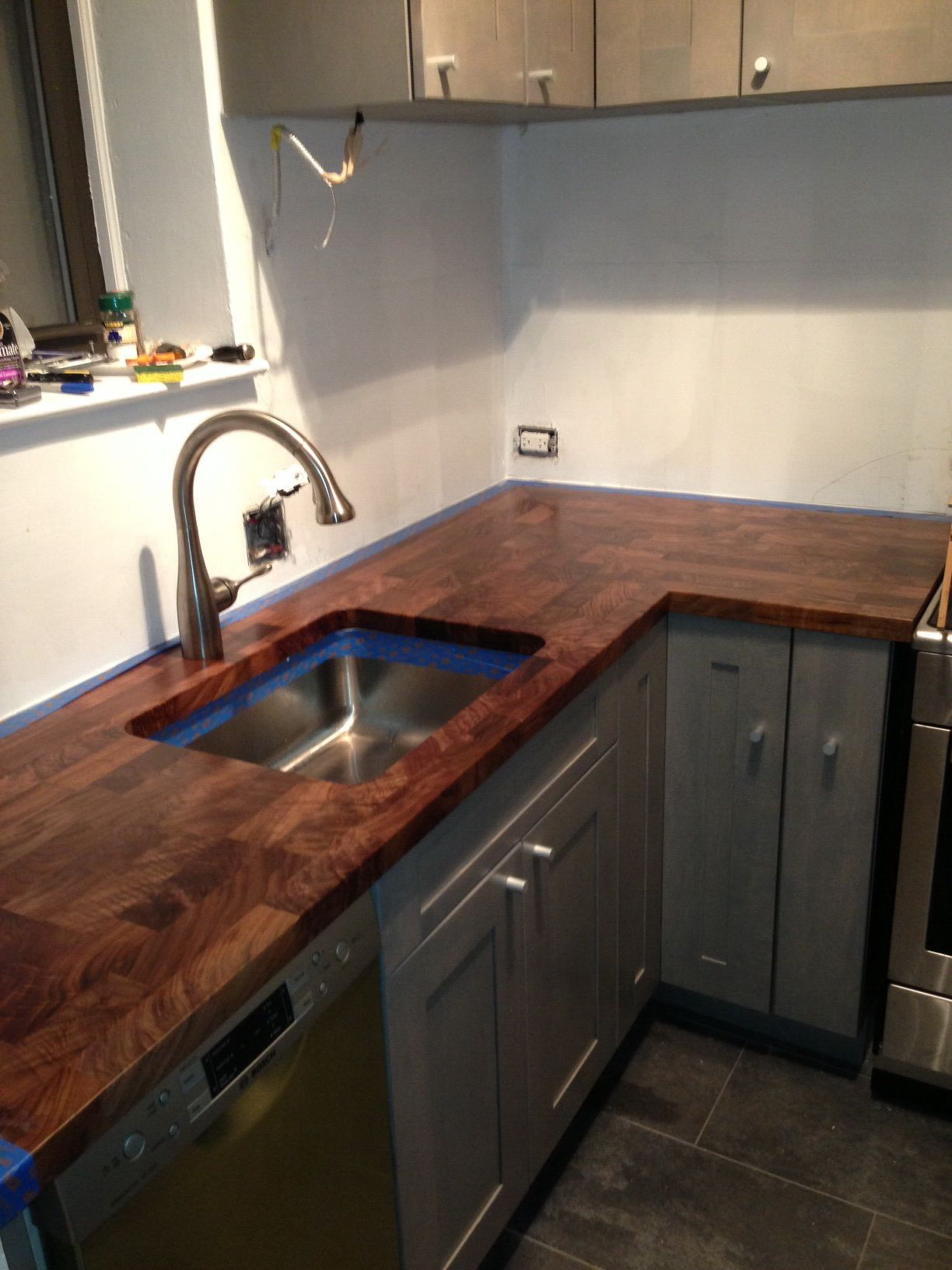 Eco Pro Walnut Countertop With Undermount Sink Cutout Kitchen