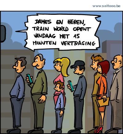 Thema van de cartoon op deze pagina: Het treinmuseum Train world opent 's morgens de deuren in stijl, klik op de cartoon om naar de volgende te gaan