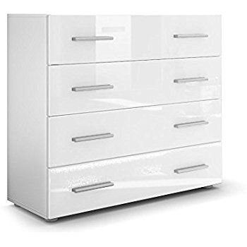 Kommode Sideboard Pavos, Korpus in Weiß matt   Front in Weiß - küche hochglanz oder matt