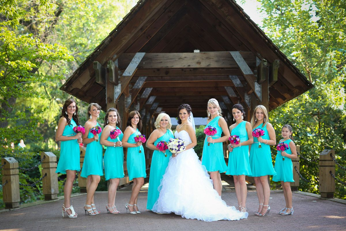 Aqua Tiffany Blue Bridesmaids Dresses And Hot Pink Bridesmaids