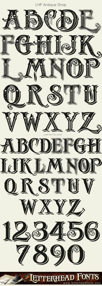 Letterhead Fonts  Lhf Antique Shop Font Set  Decorative Fonts