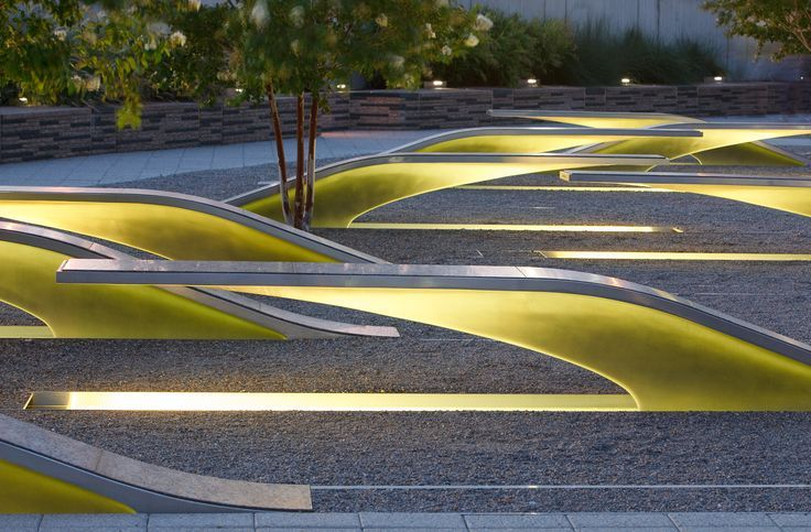 Public Seating Illuminated In Park Landscape Architecture Urban Landscape Design Landscape Architect