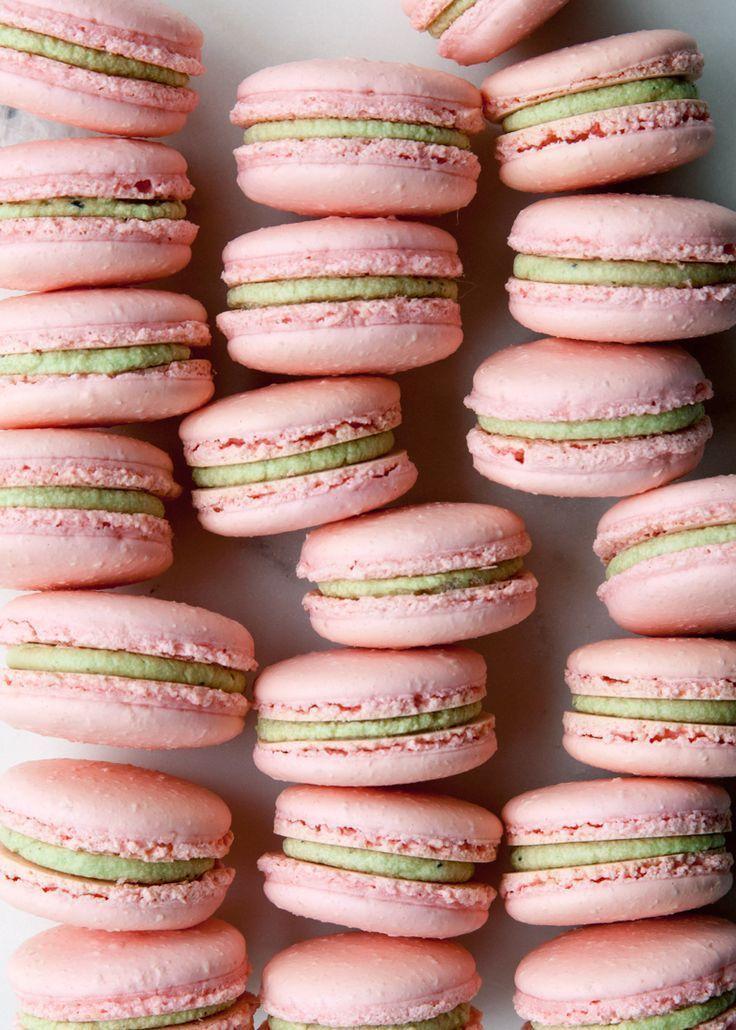 Matcha Raspberry French Macarons - Macarons -