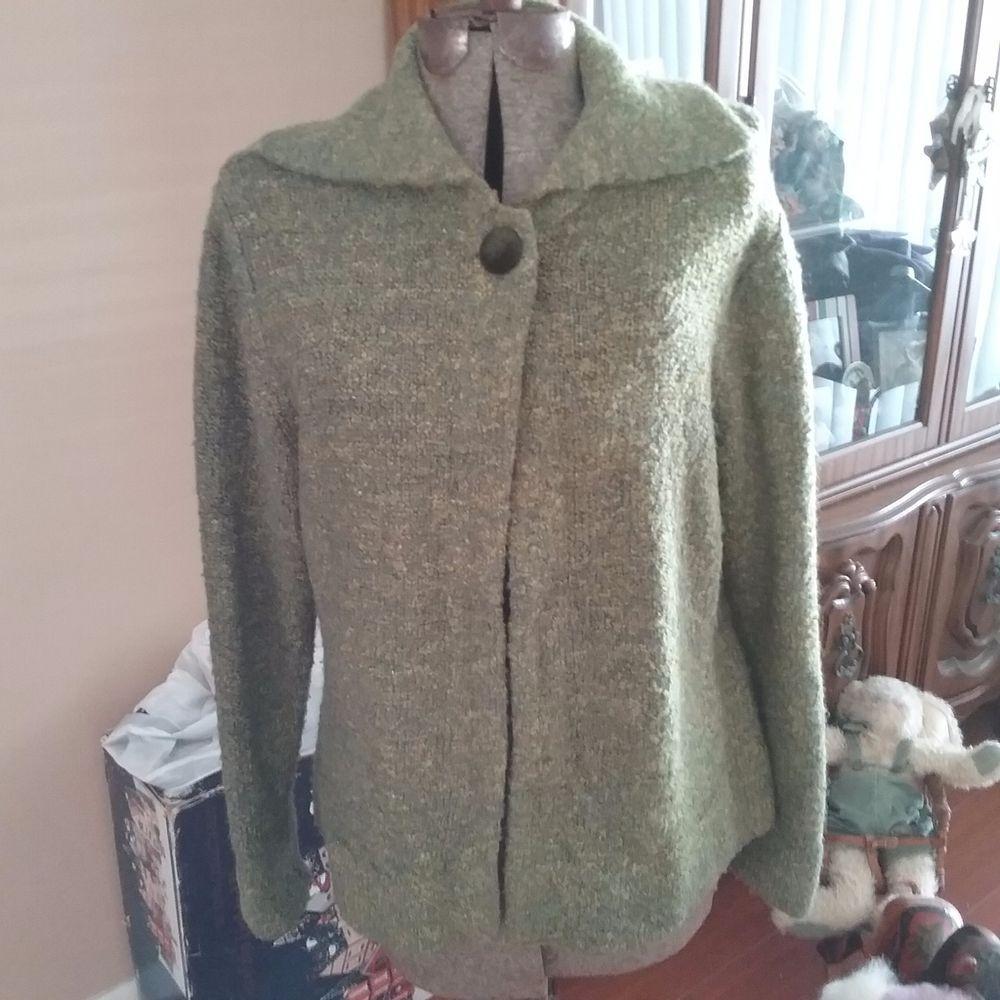 Womens Sweater Coat-JILLIAN JONES  GREEN AND YELLOW  SZ XL #JillianJones #Sweatercoat