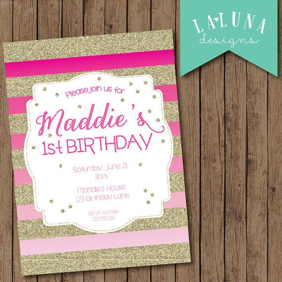Pink and gold birthday invitation first birthday pink ombre pink and gold birthday invitation first birthday pink ombre invitation gold glitter stripes invitation girl birthday invitation filmwisefo