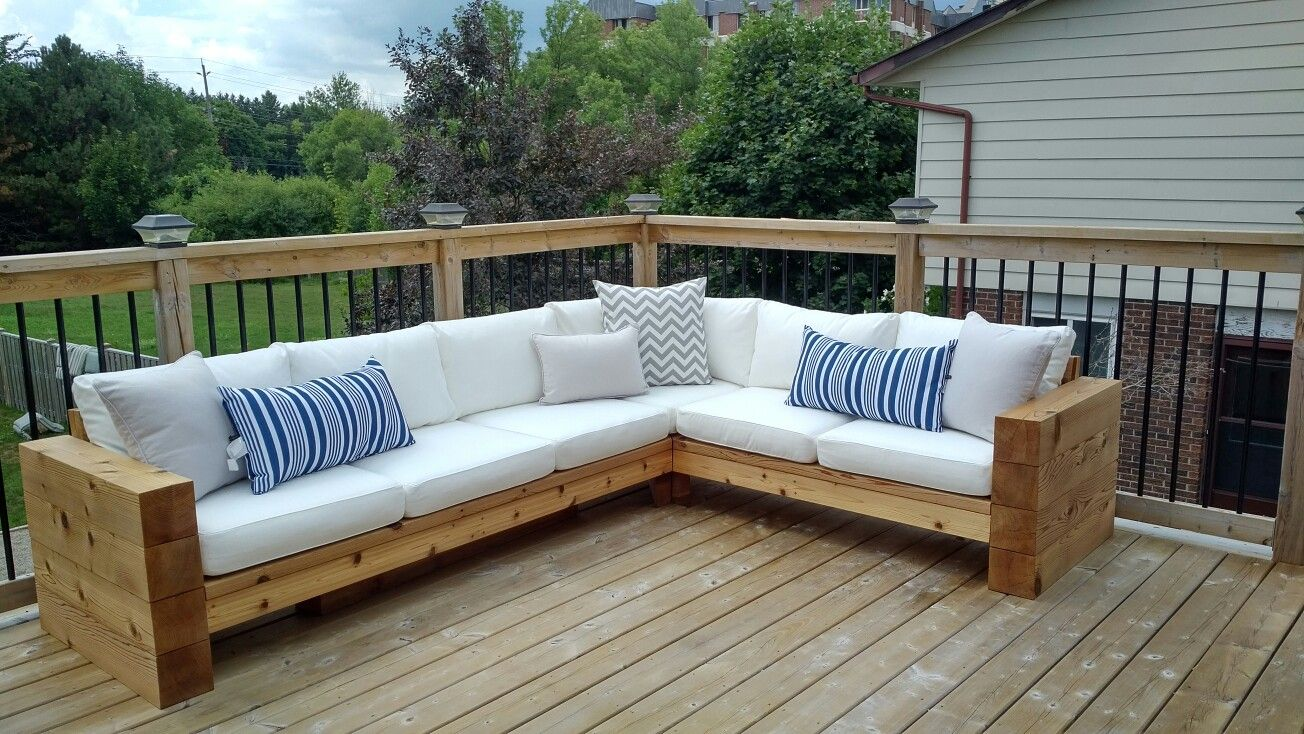 Outdoor patio furniture. Sectional, couch, cedar, DIY