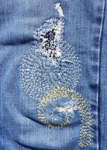 Sashiko like mending - Boro | Pants | Sashiko embroidery ...