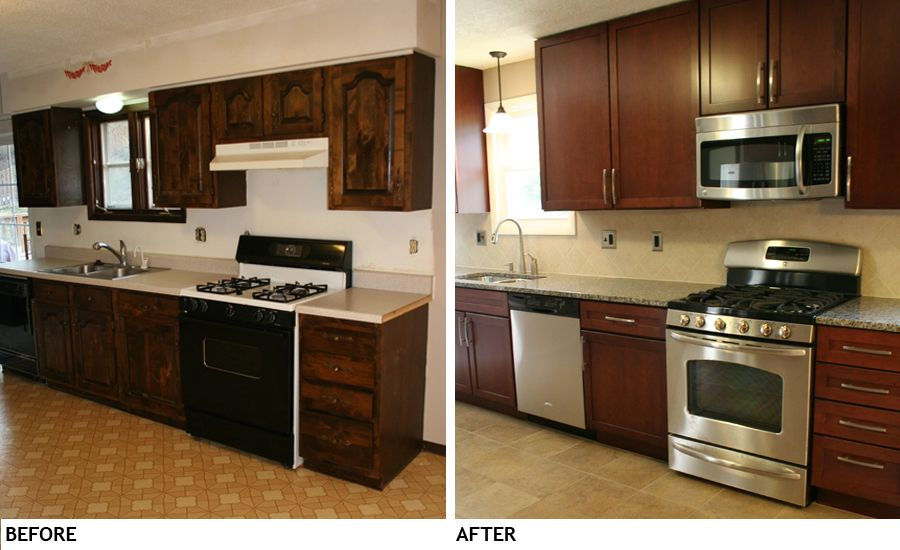 Small kitchen remodel before and after on pinterest for Kitchen cupboard makeover before and after