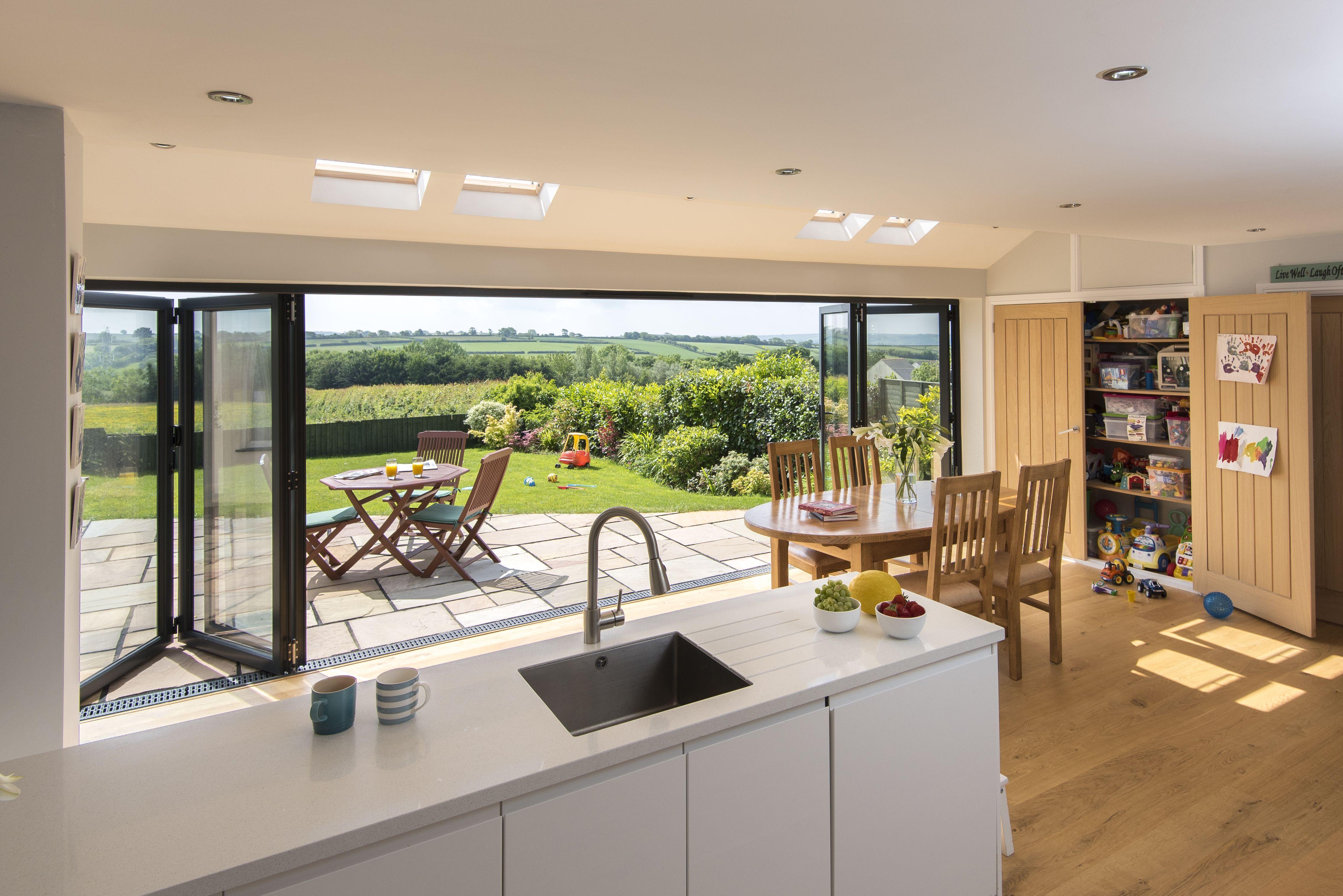 Origin Bifold Doors Open Plan Kitchen Living Room Bifold Doors Onto Patio Open Plan Kitchen Dining Living