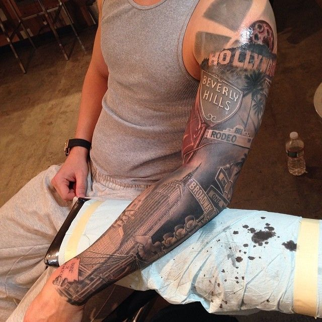 Another View Of My New York To Cali Sleeve Hollywood Tattoo Arm Sleeve Tattoos Sleeve Tattoos