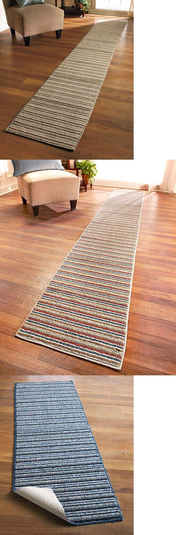 Runners 20574 Extra Long Nonslip Striped Floor Runner Rug E Sand Or Blue 60 90 120 It Now Only 25 53 On Ebay