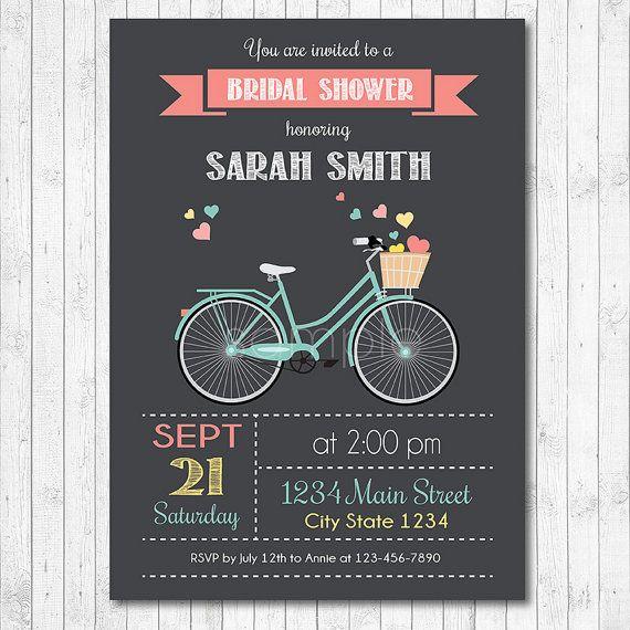 Vintage bike bridal shower invitation bicycle bridal invitation vintage bike bridal shower invitation bicycle by funkymushrooms filmwisefo Choice Image