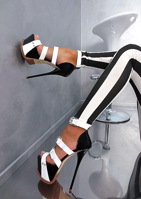 sky high black & white platform sandals <3