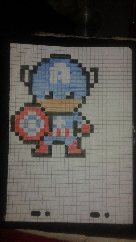 Image du blog pixel pixel drawing pixel art et pixel pattern - Comment dessiner captain america ...