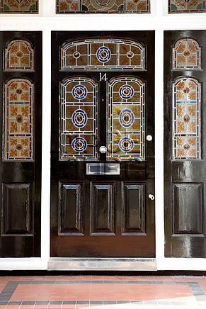 Front door with stained glass windows, front door, house exterior ...
