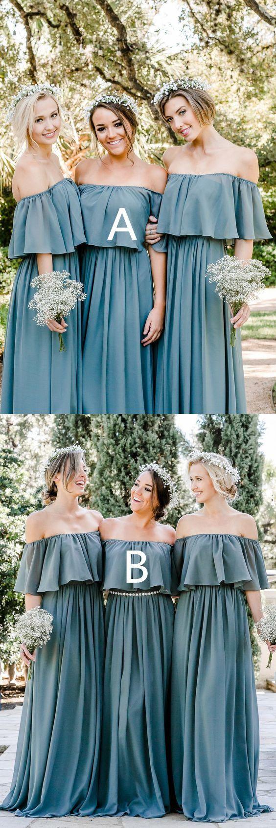 Off the shoulder bridesmaid dresses ruffled bridesmaid dresses