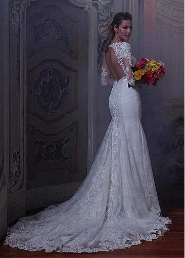 Gorgeous Tulle Bateau Neckline Mermaid Wedding Dresses with Beaded Lace Appliques($245)