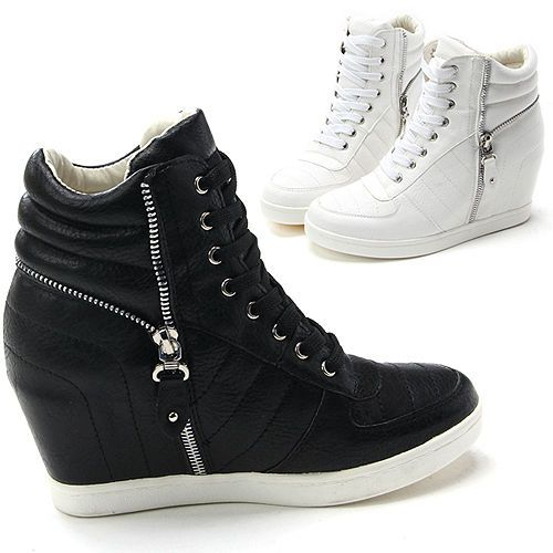 Womens Studded Concealed Wedge Trainers Sneakers High Tops Ankle Boots Shoes OO_3551