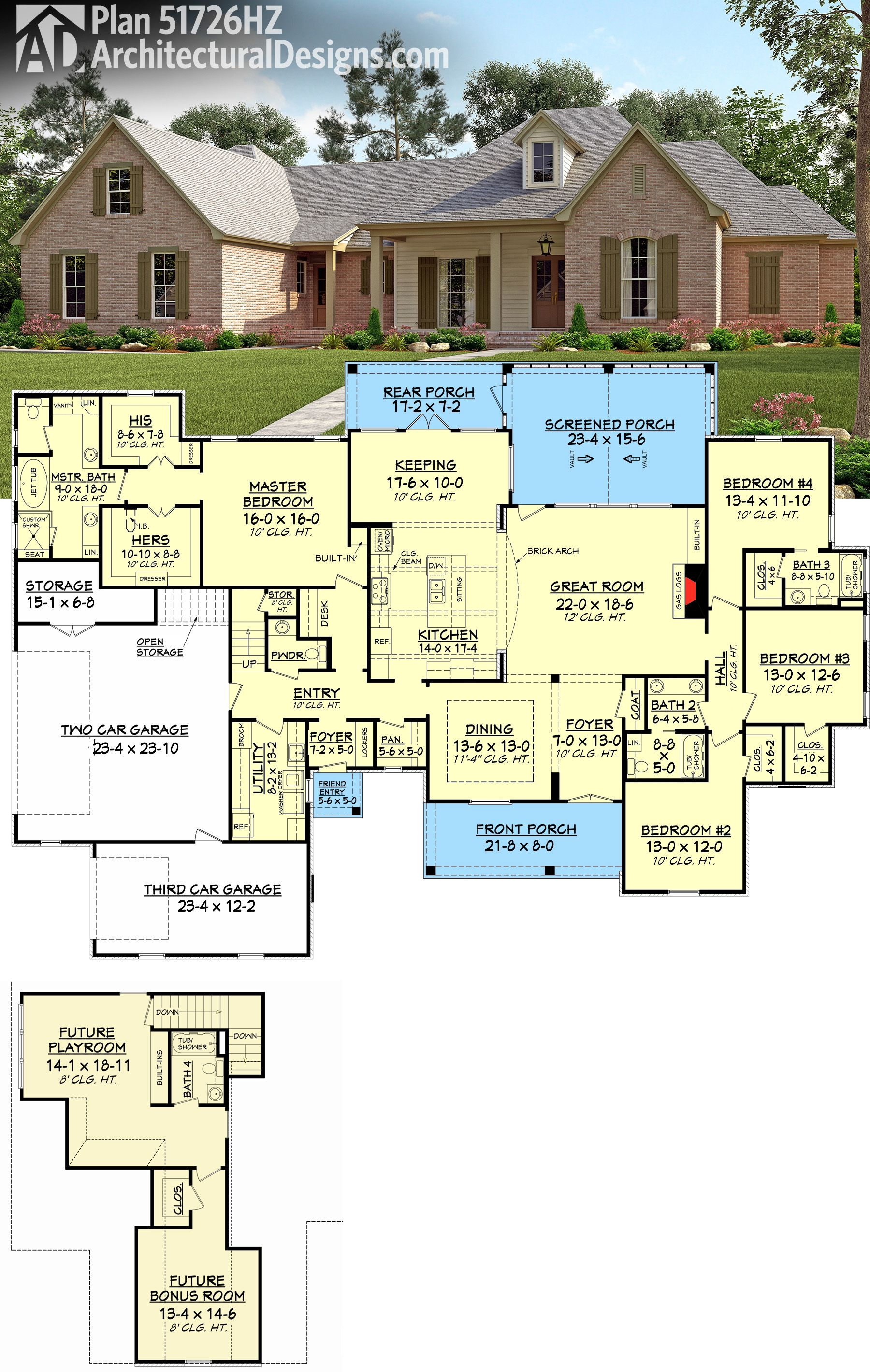 Architectural designs acadian house plan 51726hz has for House plans with bonus room upstairs