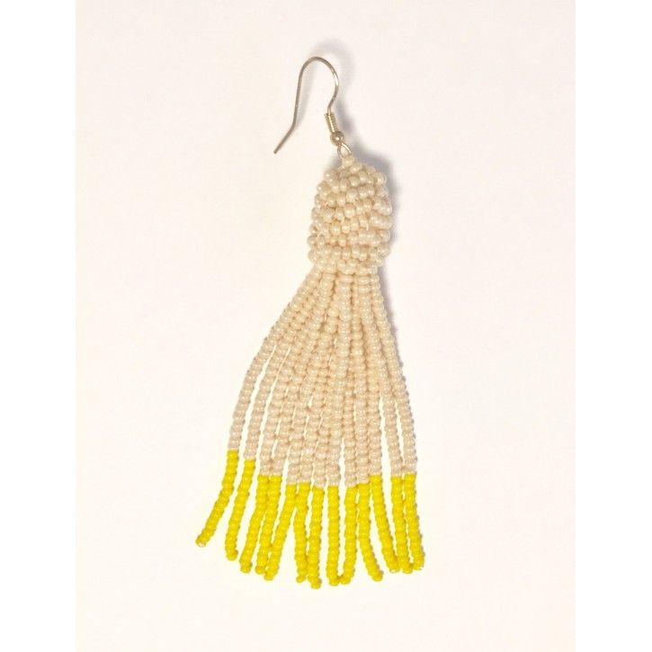 Perleørering hvid/gul
