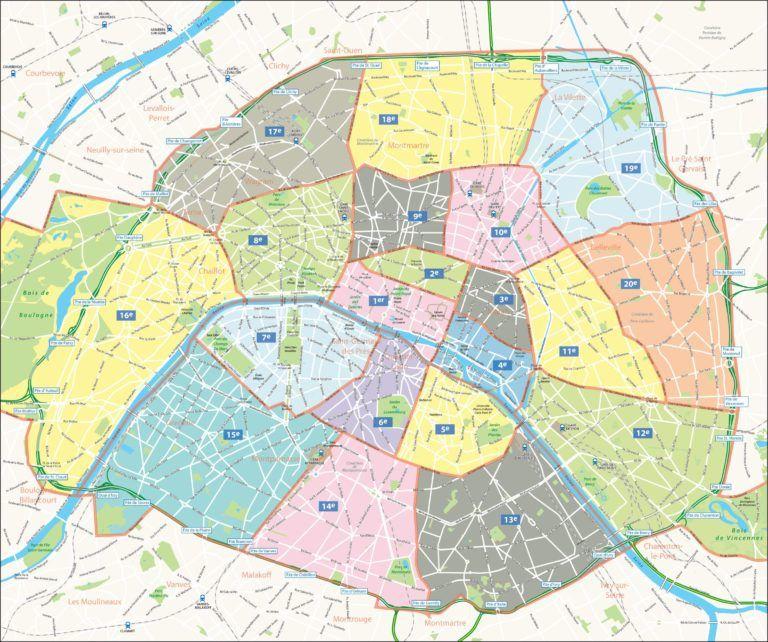carte de paris par arrondissement Cartes et plans détaillés de Paris | Paris map, Map, Paris