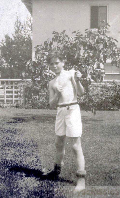 Vintage Photo 1922 Boy In Gym Shorts Strikes A Pose Boxer Boy