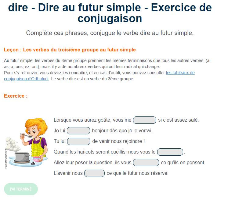 Exercice De Conjugaison Le Verbe Dire Au Futur Simple Phrase Simple
