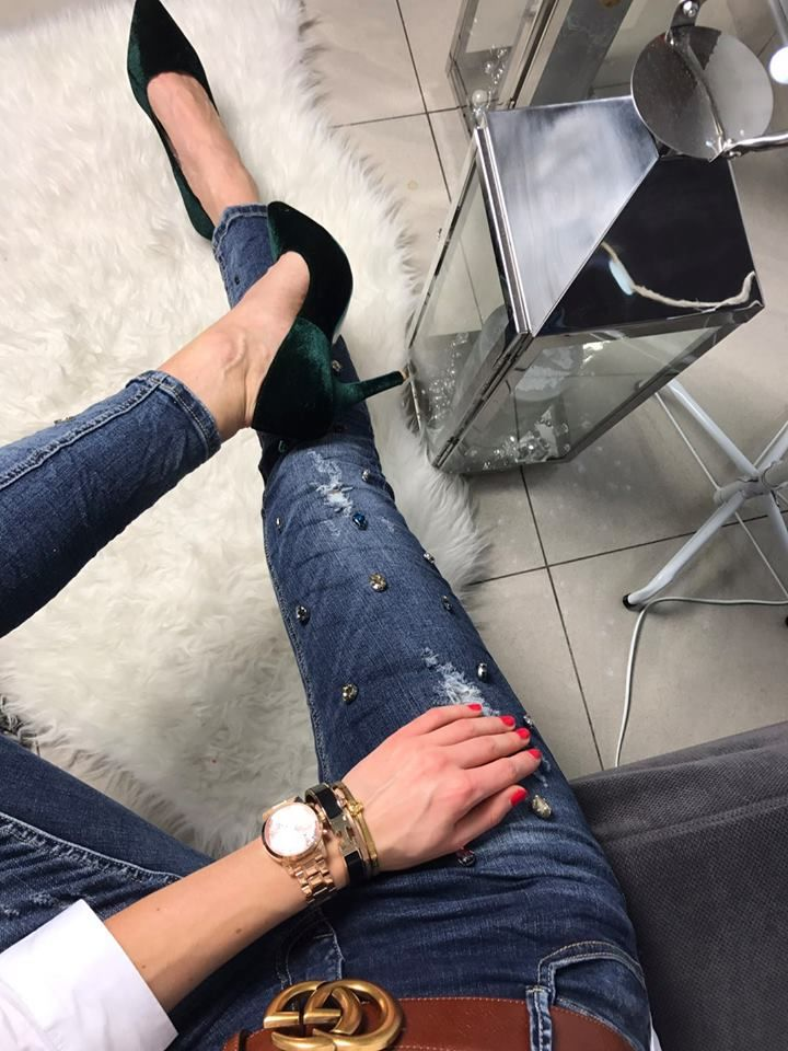 Jeans Guess Watch Whiteshirt Nye Nyeoutfit Nyeoutfitideas Outfit Elikshoe Ewelina Bednarz Kolekcjone Party Heels Expensive High Heels Leather Jeans