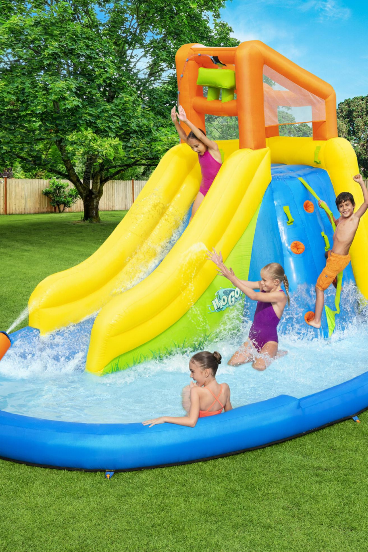 Bestway H2o Go Mount Splashmore Mega Inflatable Water Park Big Lots In 2021 Backyard Water Fun Kids Water Slide Inflatable Water Park