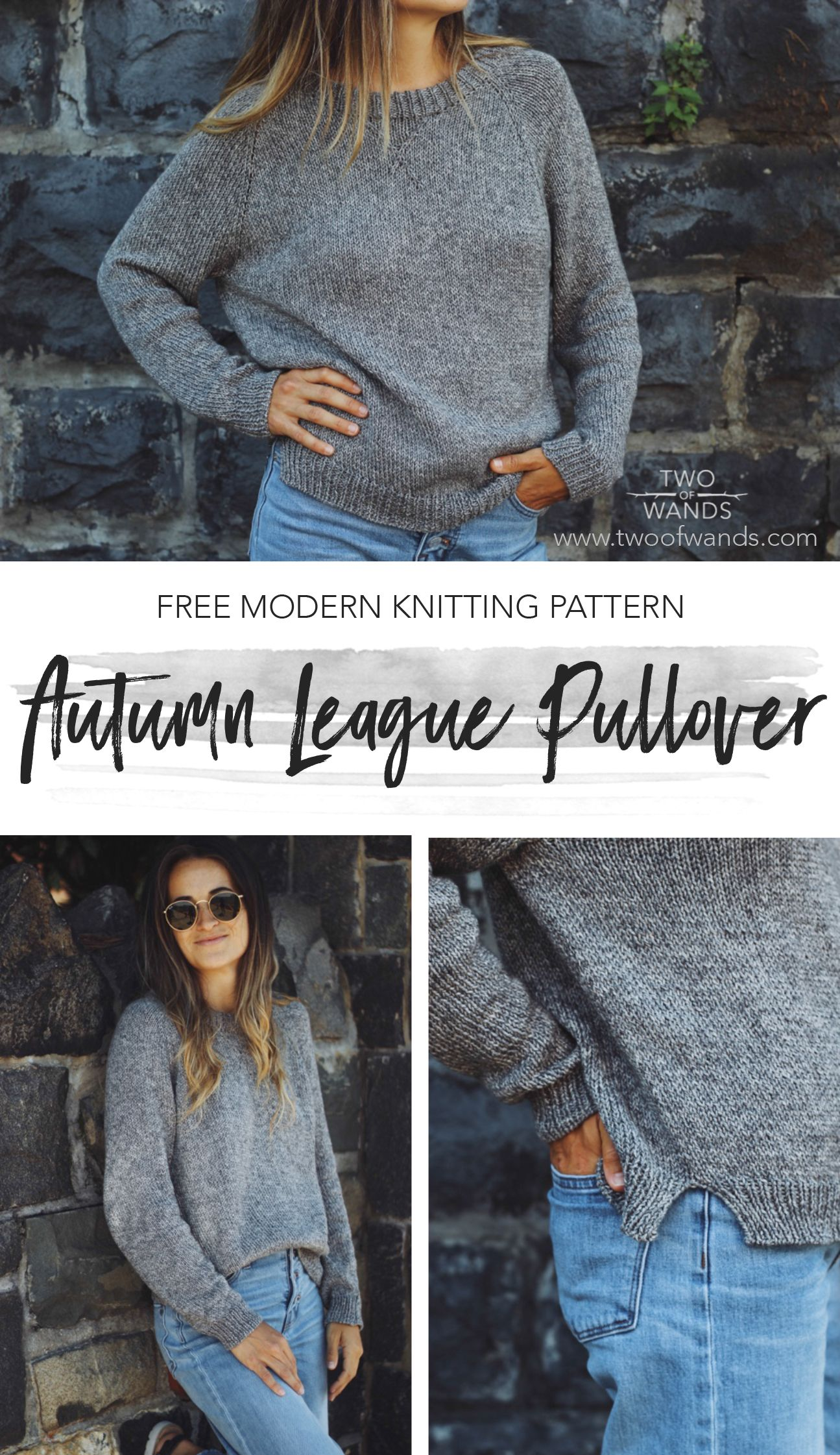 Free Top Down Raglan Sweatshirt Style Sweater Knitting Pattern with V-Neck Detail and Side Slits #freeknittingpatterns