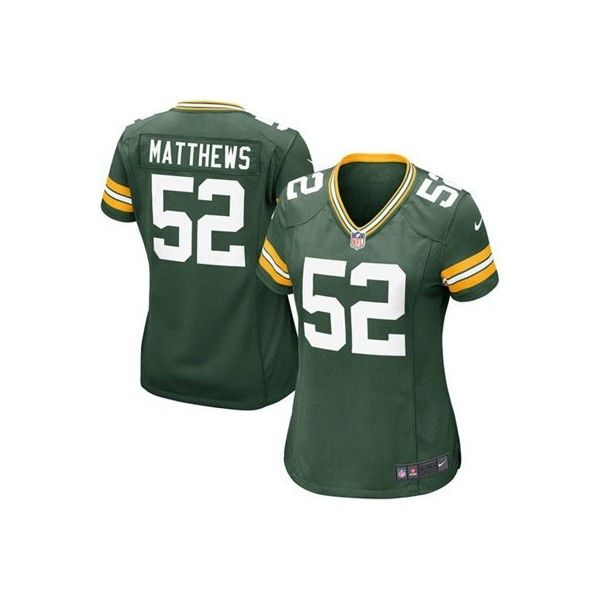 Women's Green Bay Packers Clay Matthews Nike Green Game Jersey ($95) ❤ liked on Polyvore featuring nike