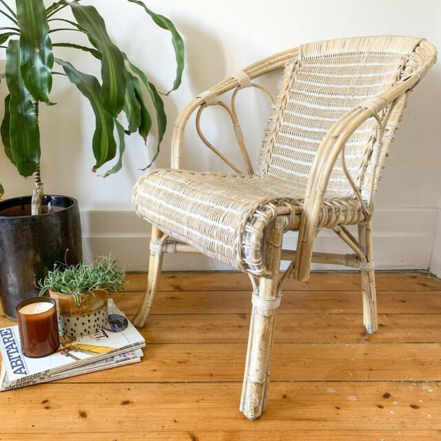 VINTAGE WHITE WASH RATTAN CHAIR CANE WICKER   Armchairs ...