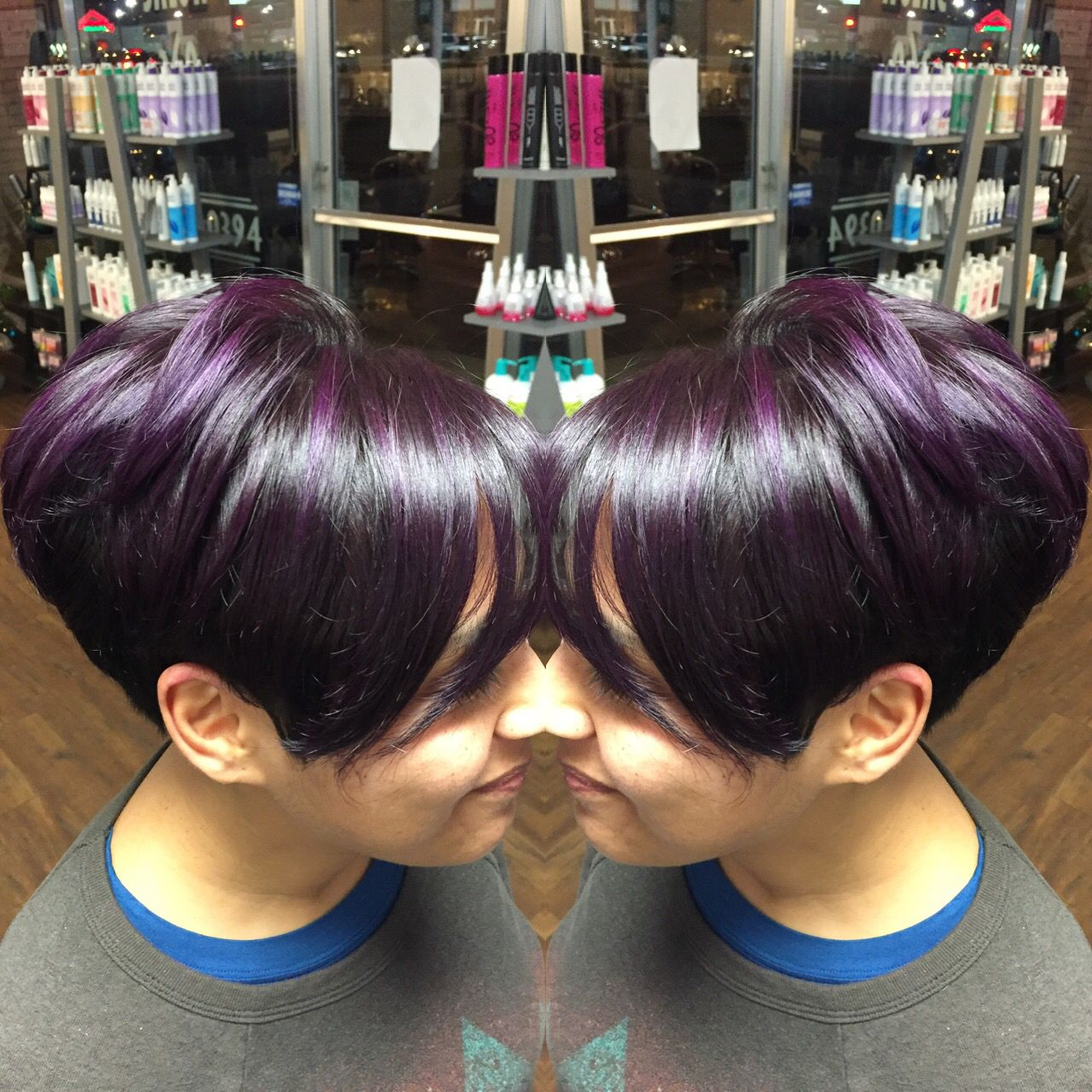 Pixie cut with dark brown root u some purple balyage to make this