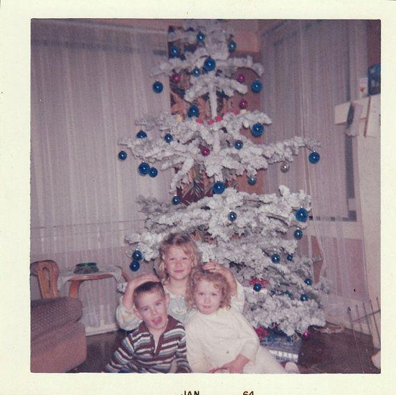 Original Vintage Color Photograph Girls Boy & Flocked White Christmas Tree 1964