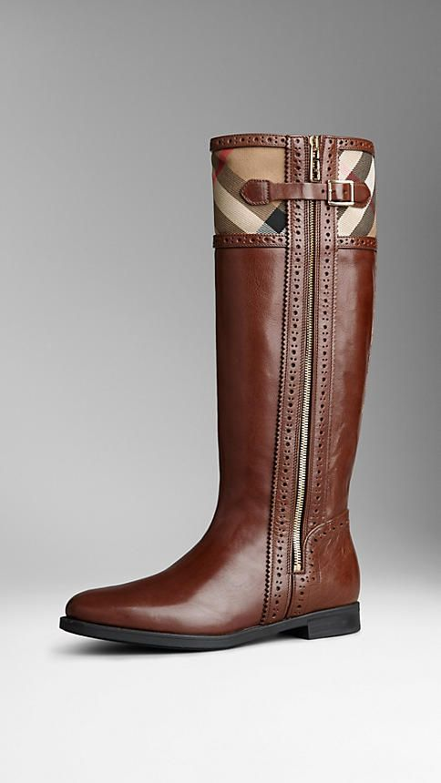 Brogue Detail House Check Riding Boots   Burberry