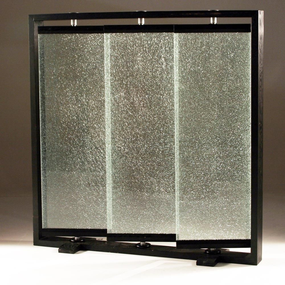 Cracked glass partians triple panel crackled glass room for Window dividers