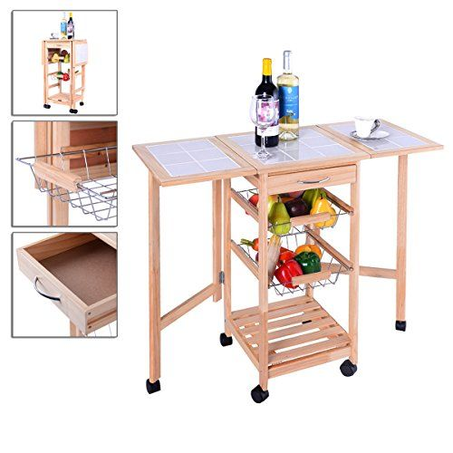 Portable Rolling Kitchen Trolley Cart Drop Leaf Storage Pull Out Baskets Smart And Compact Design Tse176a2 Breakfast Bar Table Leaf Storage Kitchen Roll
