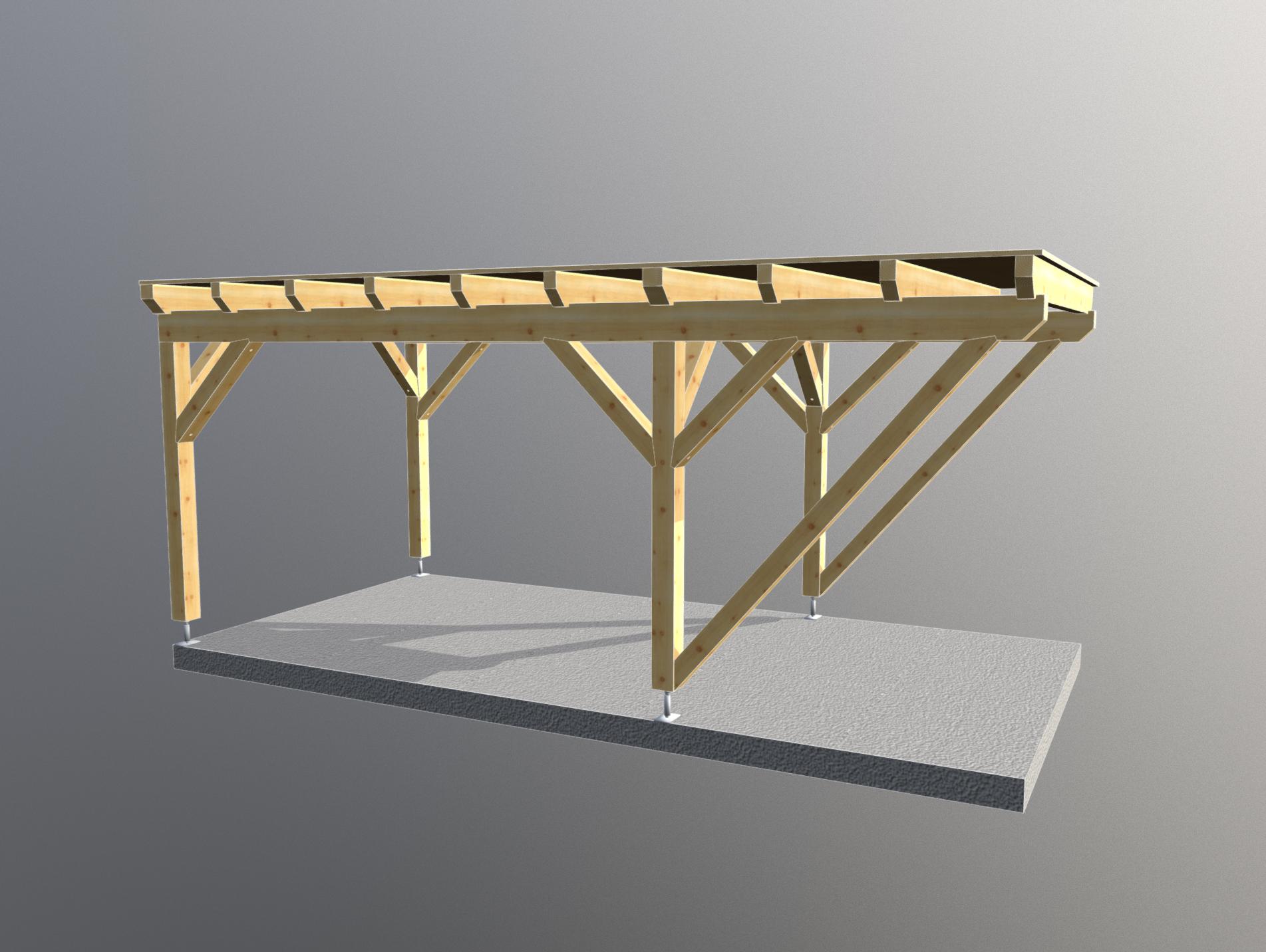 Holz Carport 3m x 6m flachdach, carports aus polen