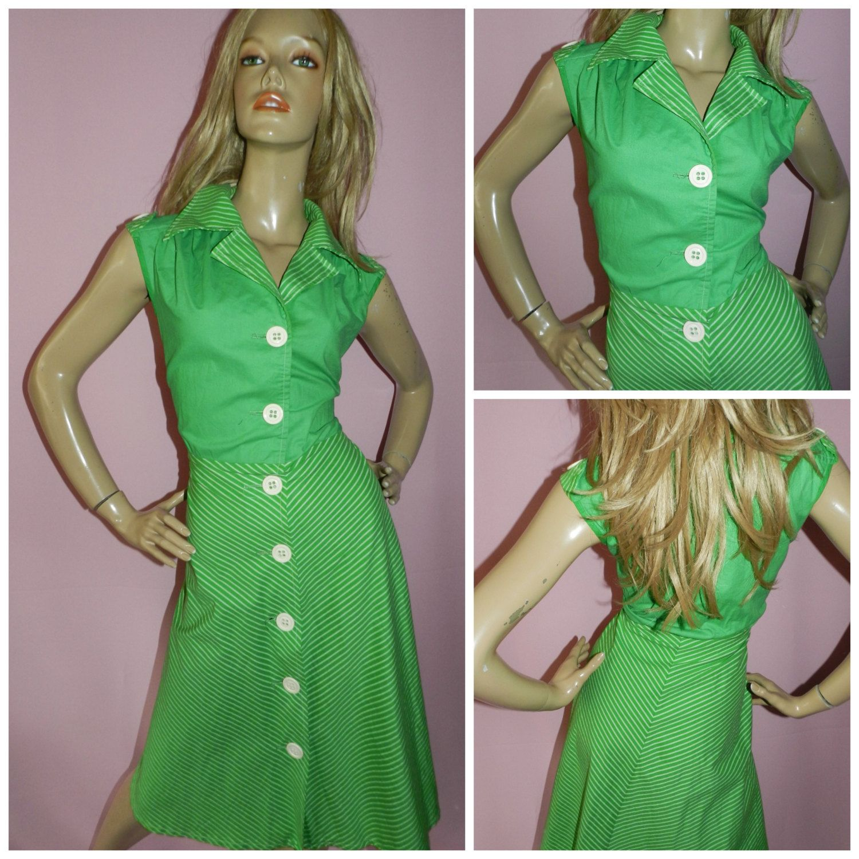 60s green dress  Vintage s GreenWhite Striped KITSCH Button down day dress  L