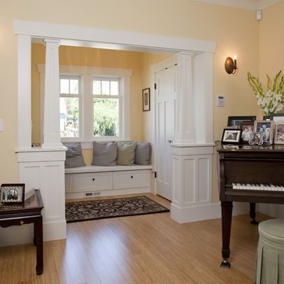 Living Room Half Wall With Column Design Ideas, Pictures, Remodel, And Decor