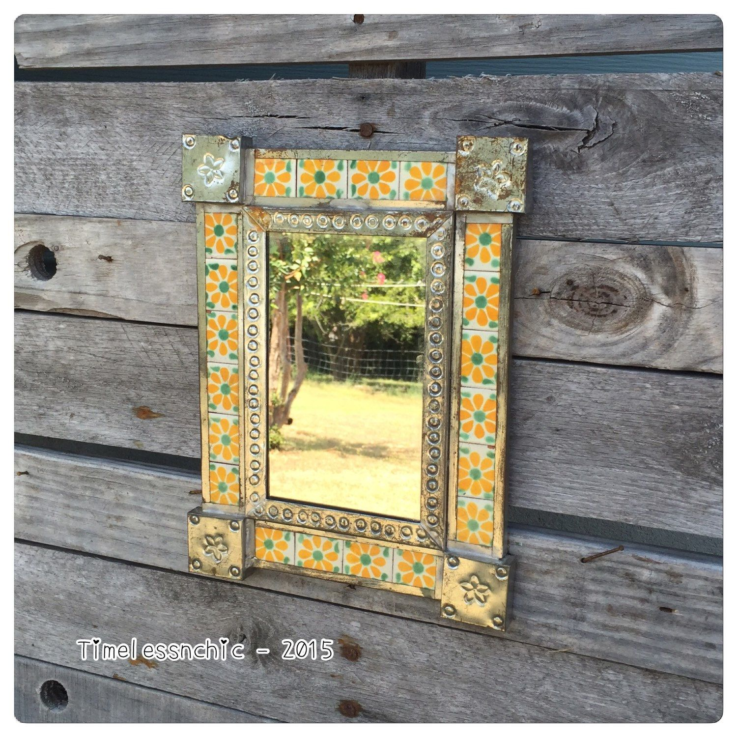 Vintage, tin and tile, rustic, bohemian chic mirror! | Bohemian ...