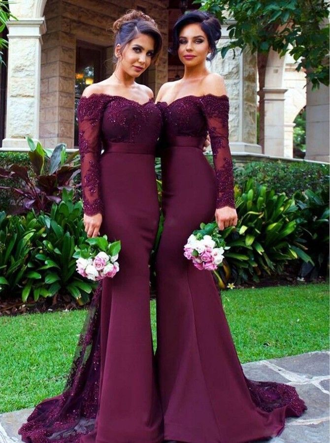 7772f852c74 Shevny Elegnat Off Shoulder Sweep Train Long Sleeves Mermaid Burgundy Prom  Dress Beading with Sash